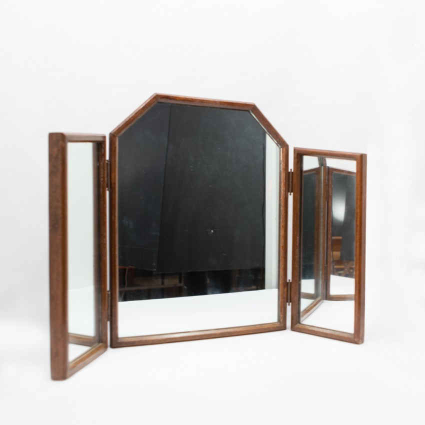 miroir triptyque volets des ann es 1940. Black Bedroom Furniture Sets. Home Design Ideas
