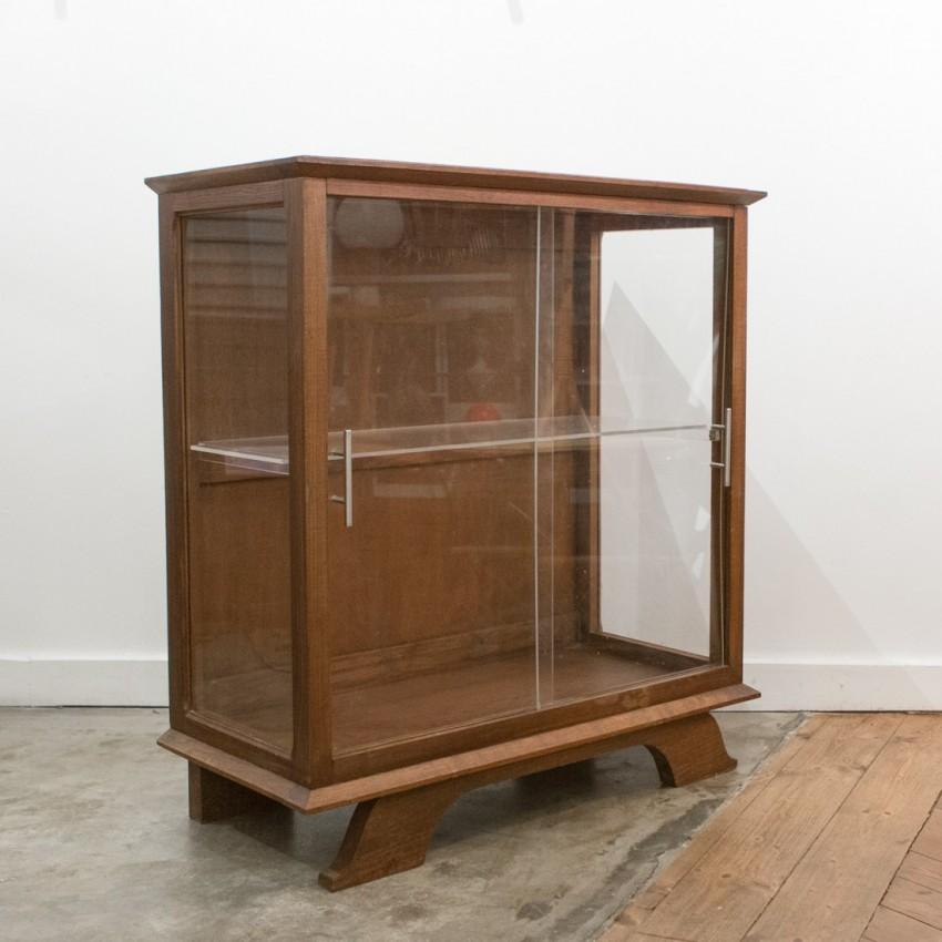 Meuble vitrine bois/verre/Plexiglas