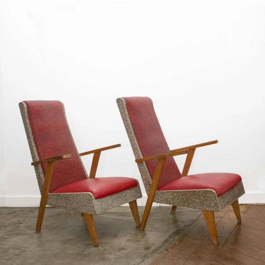 Paire de fauteuils sauterelle