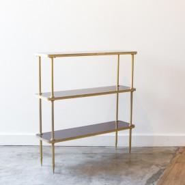 Étagère bois/métal doré