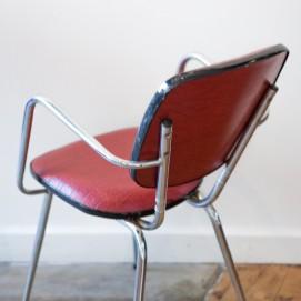 Paire de fauteuils chrome/Skaï rouge
