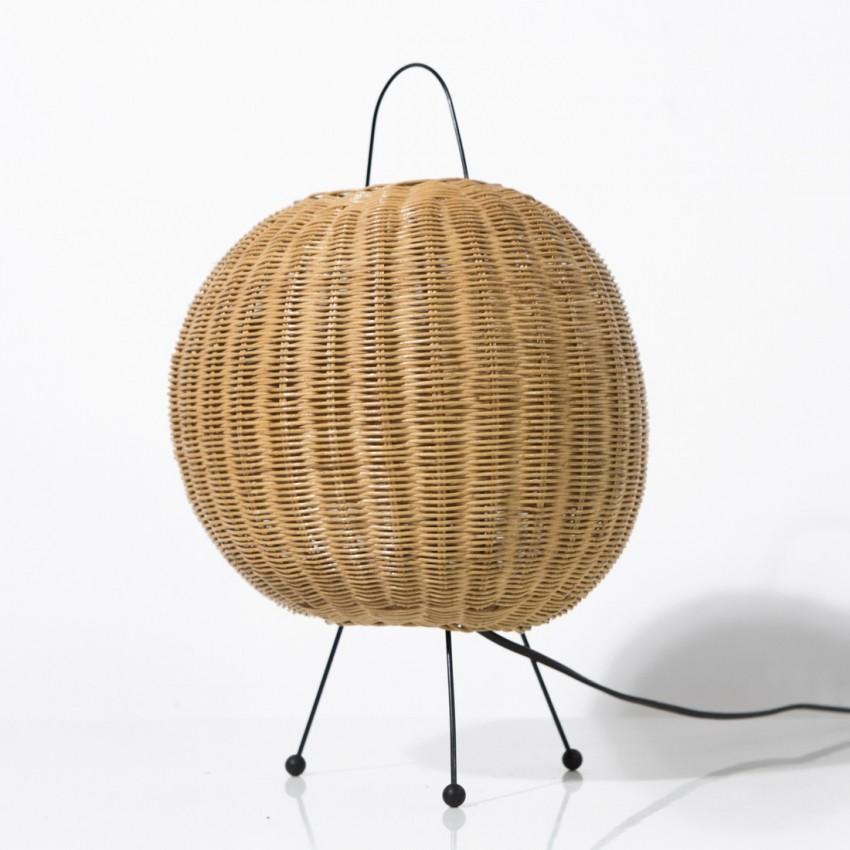 lampe tripode en rotin. Black Bedroom Furniture Sets. Home Design Ideas