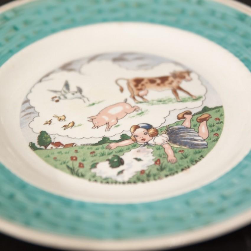 Anciennes assiettes des fables de La Fontaine