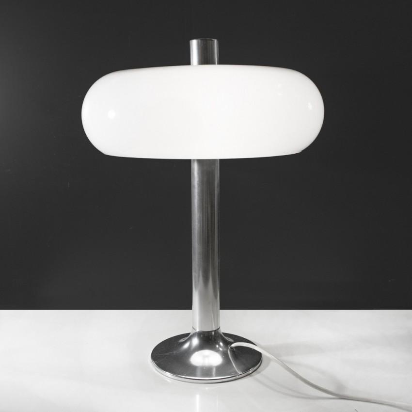 Lampe vintage piètement inox et diffuseur en Plexiglas