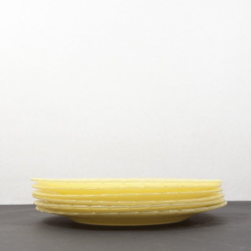 Six assiettes Duralex jaunes