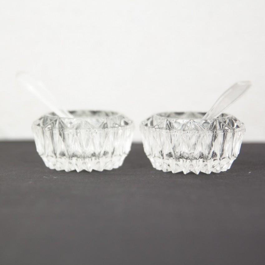 Salière et poivrière en verre vintage