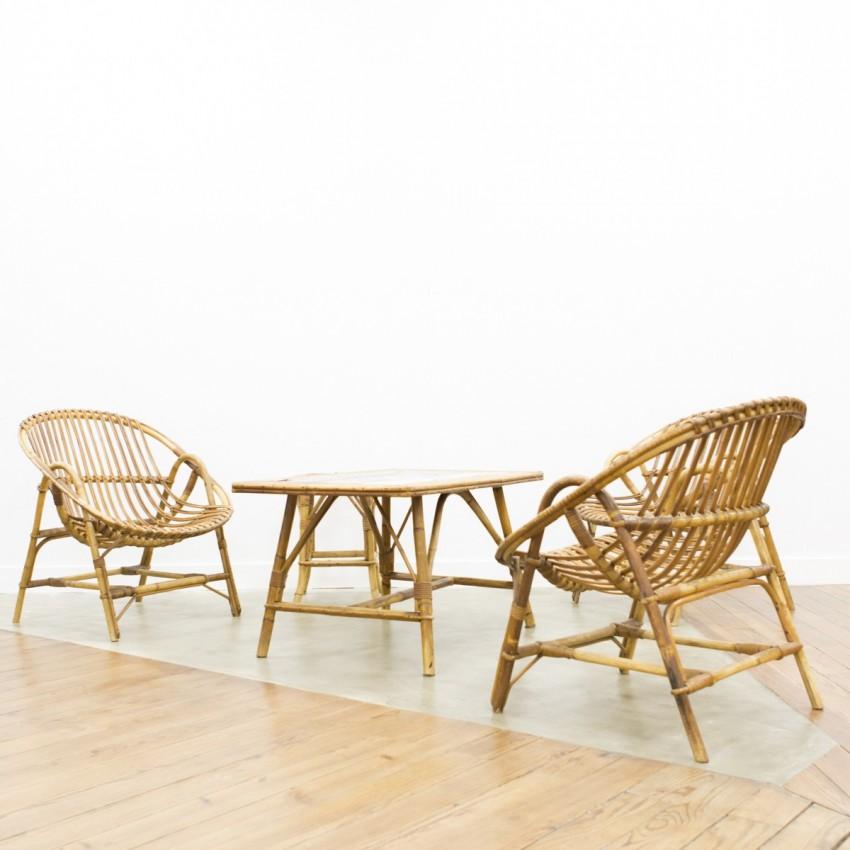 salon en rotin des ann es 1950. Black Bedroom Furniture Sets. Home Design Ideas