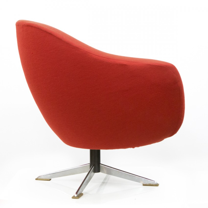 Fauteuil coquille pivotant rouge