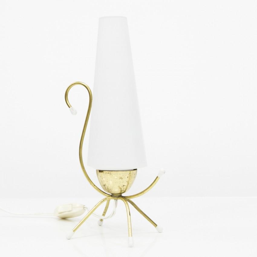 Lampe d'appoint en laiton et verre
