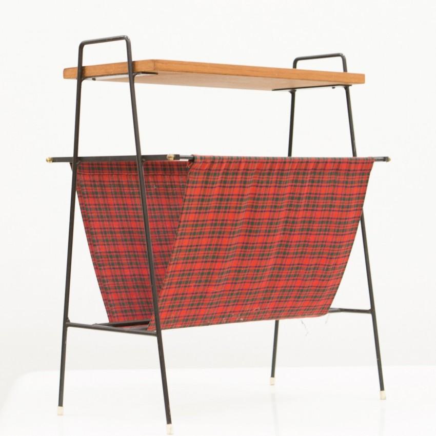 Porte-revues en fer, bois et tissu écossais