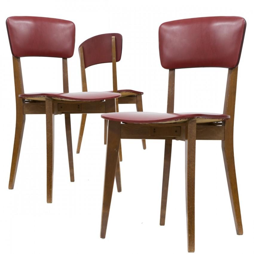 Chaises en bois et Skaï des années 1950