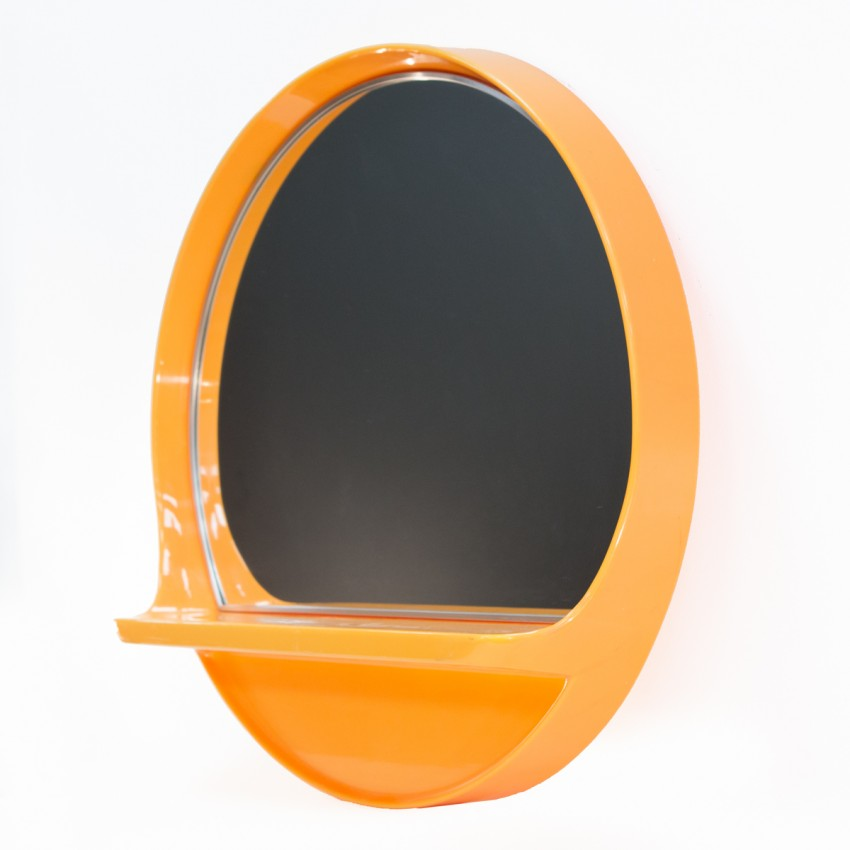 miroir salc orange avec tablette. Black Bedroom Furniture Sets. Home Design Ideas