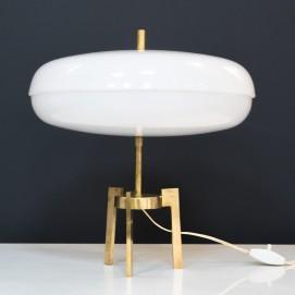 Lampe italienne tripode en laiton et Plexiglas