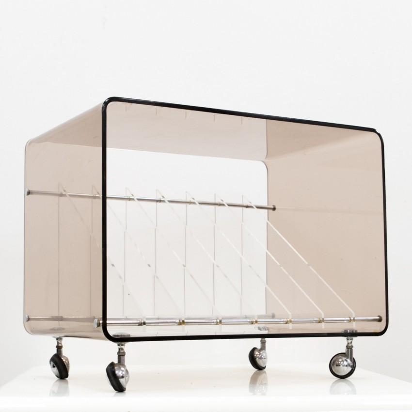 Meuble pour électrophone en Plexiglas de Michel Dumas