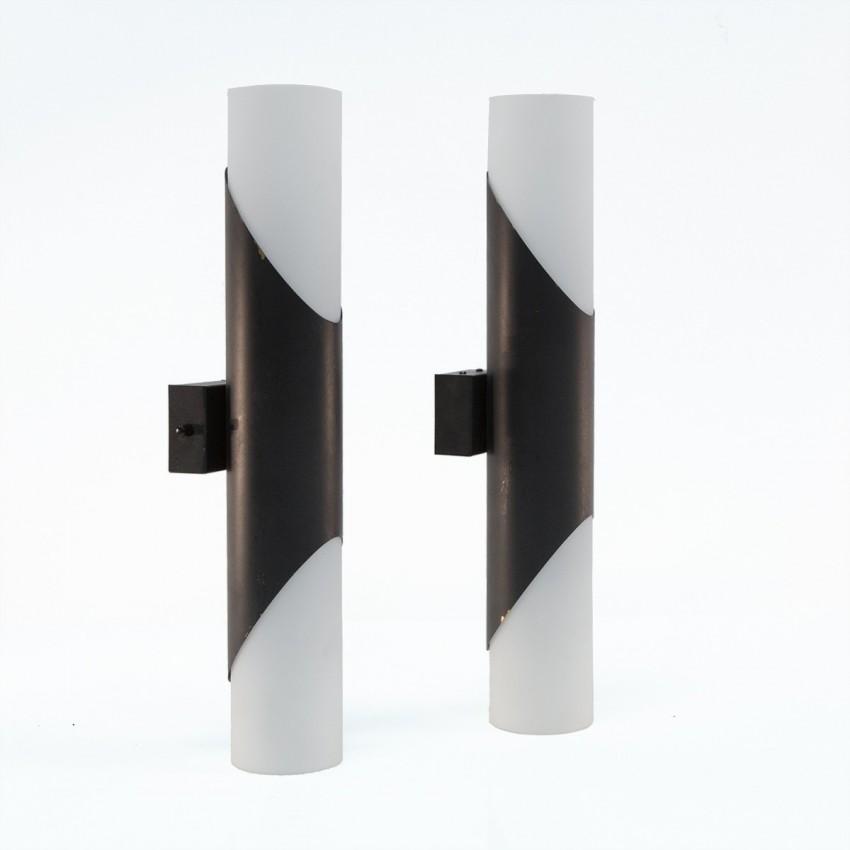 Appliques cylindriques en verre et laiton éditées par Neuhaus Licht