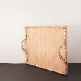 Plateau vintage en bois/rotin