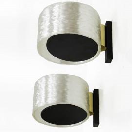 Paire d'appliques cylindriques résine et laiton