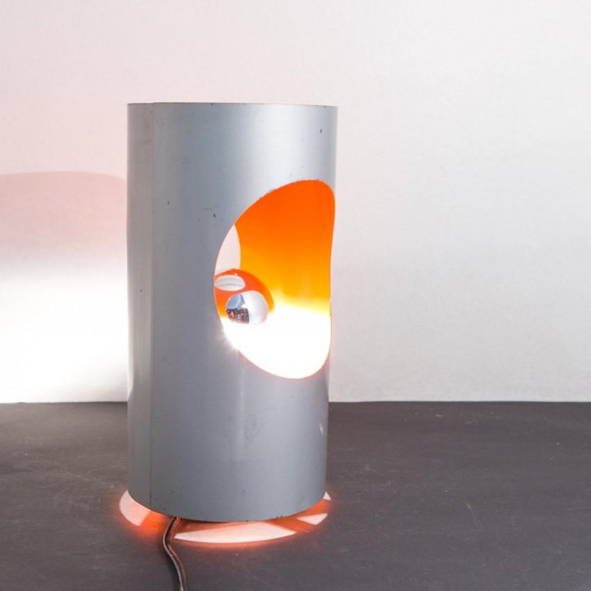 Lampe cylindrique inox et orange - Années 1970