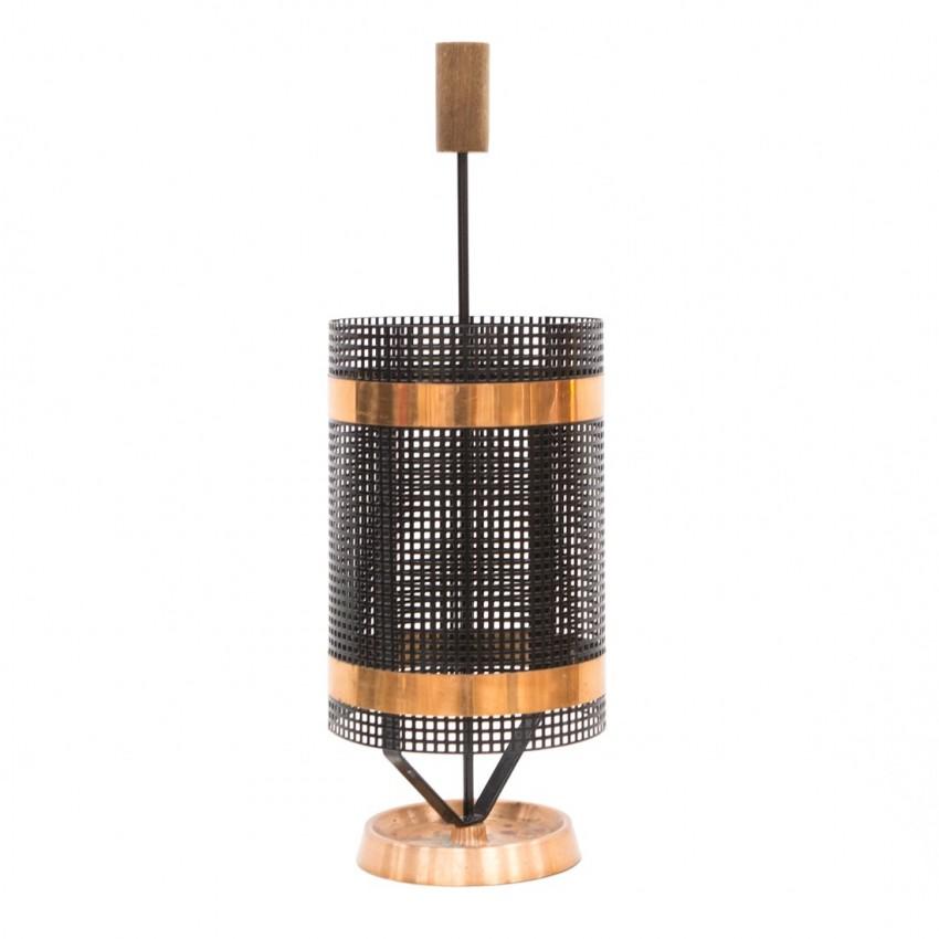 Porte-parapluie cylindrique en cuivre, tôle perforée et bois