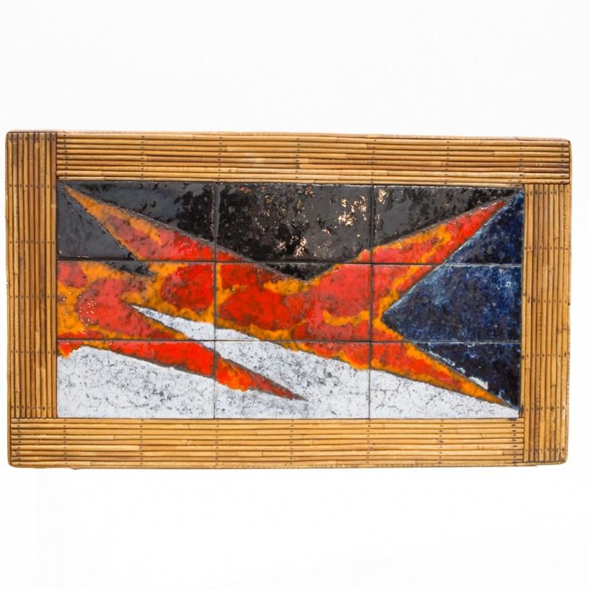 Table basse en rotin et céramique