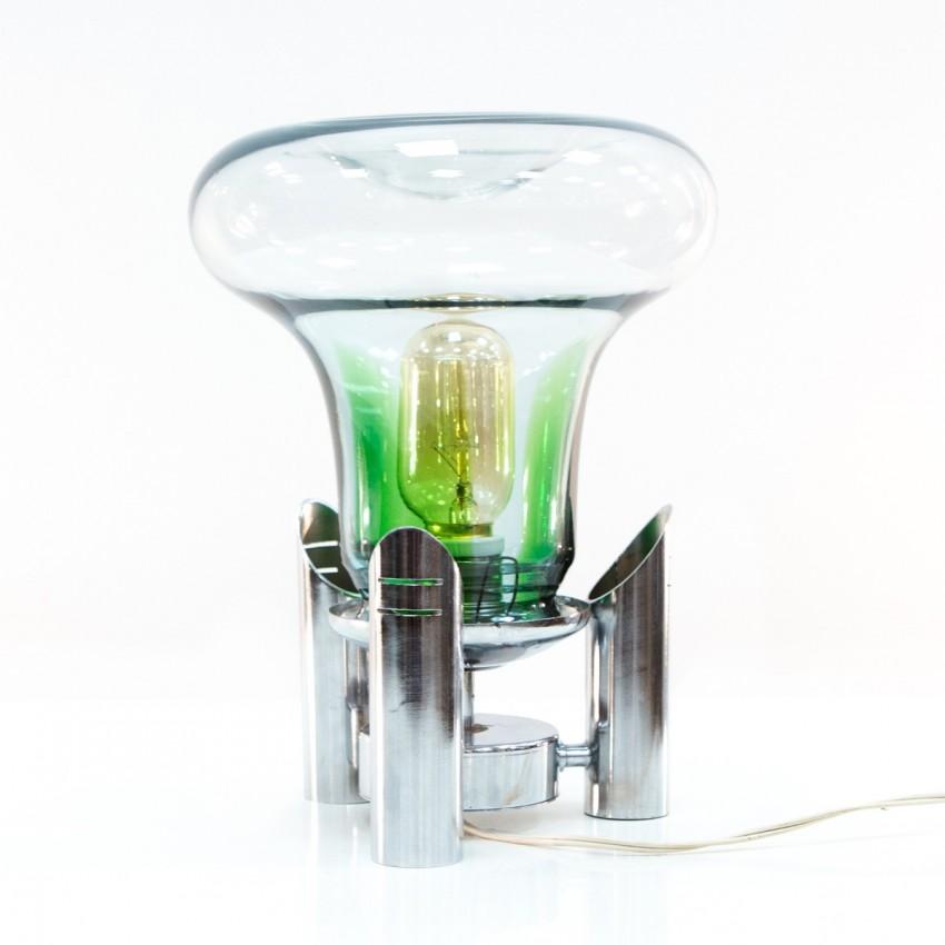 Lampe d'appoint en métal chromé et verre