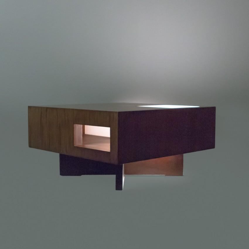Prototype de table basse lumineuse des années 1950 en bois et Plexiglas.
