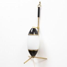 Lampe italienne tripode en laiton et verre des années 1950