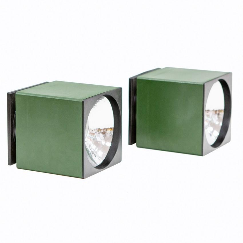 Appliques cubiques des années 1970 en résine verte