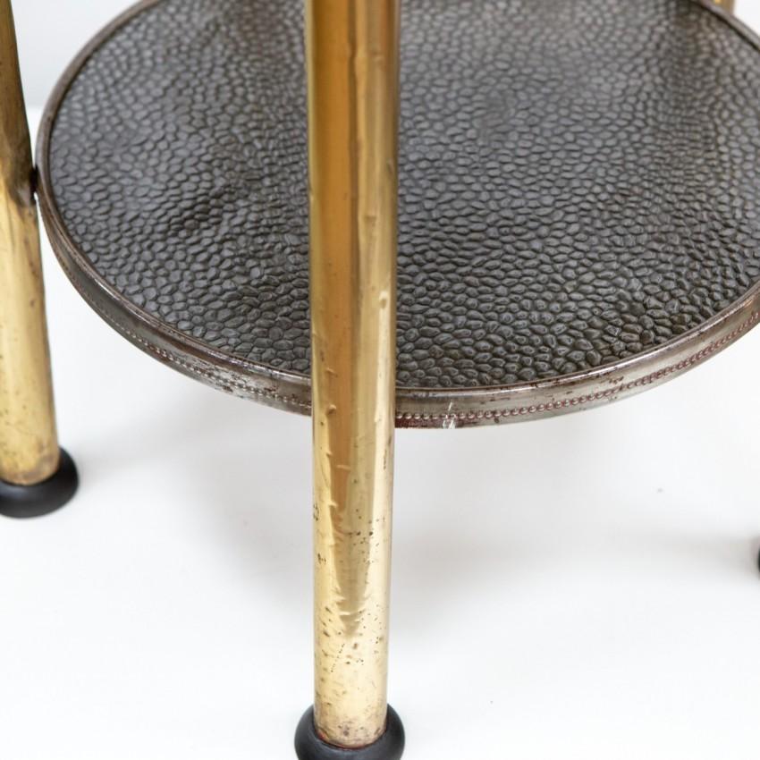 Guéridon Art déco à deux plateaux en laiton et bois