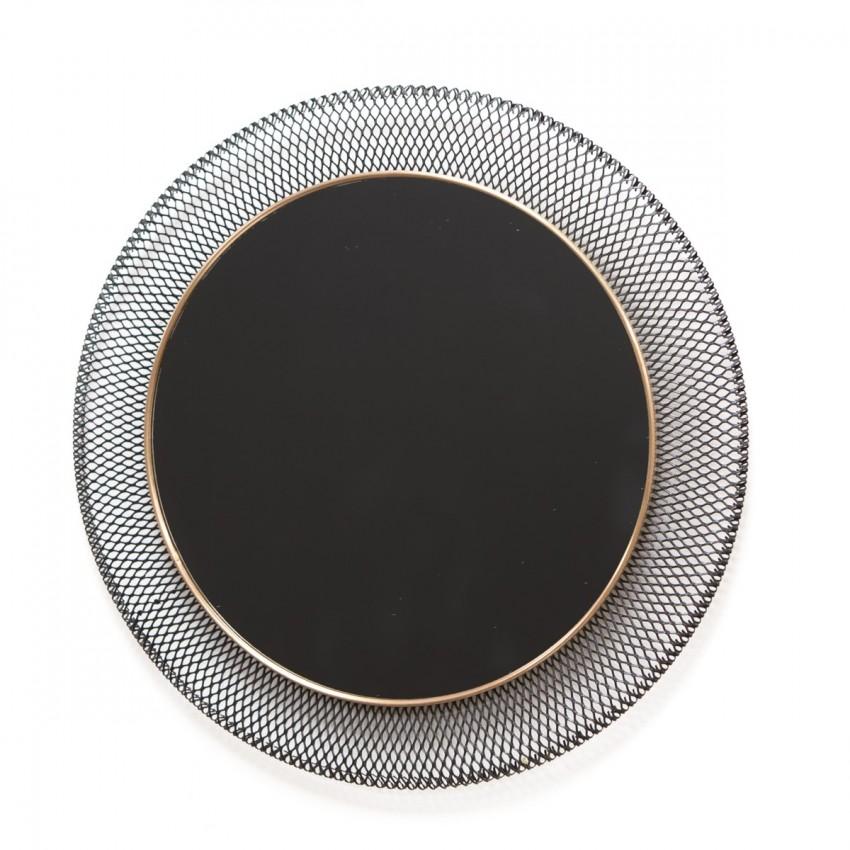 Miroir rond en métal ajouré des années 50