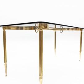 Table basse en laiton et verre fumé