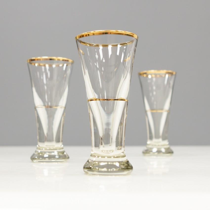 Anciens verres à liqueur au liseré doré