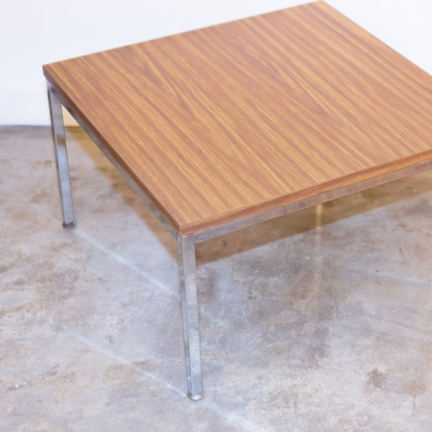 Table basse carrée chrome/formica DLG F. Knoll