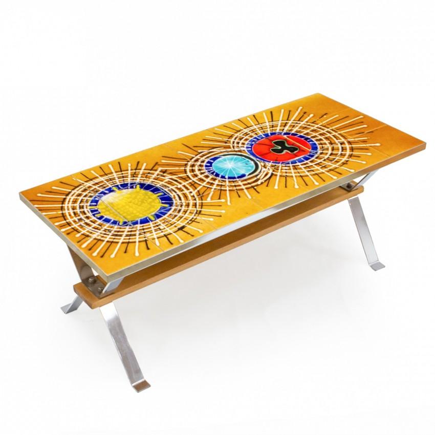 Table basse céramique et chrome des années 1960