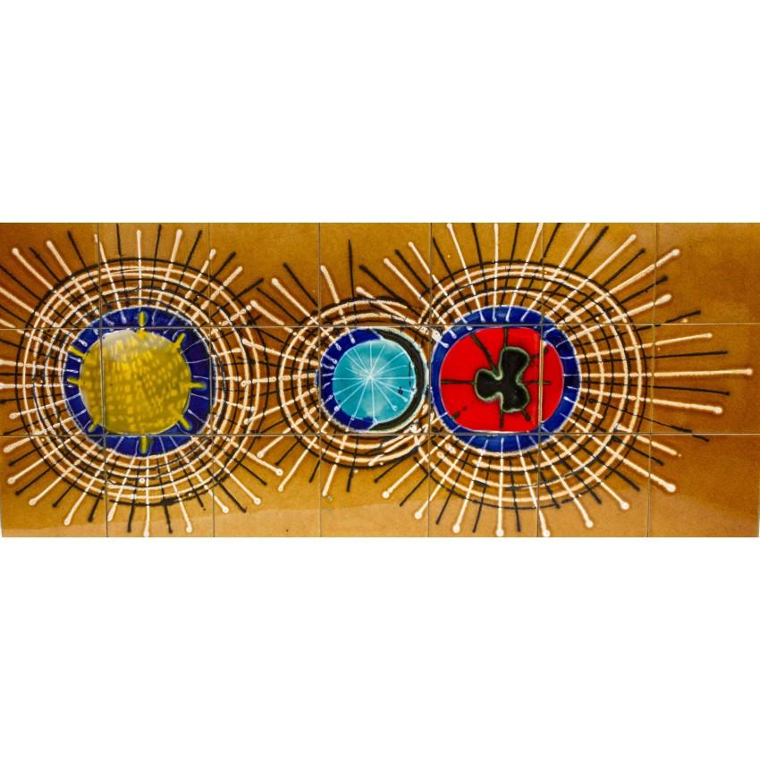 Table basse céramique et chrome des années 1960 - Adri