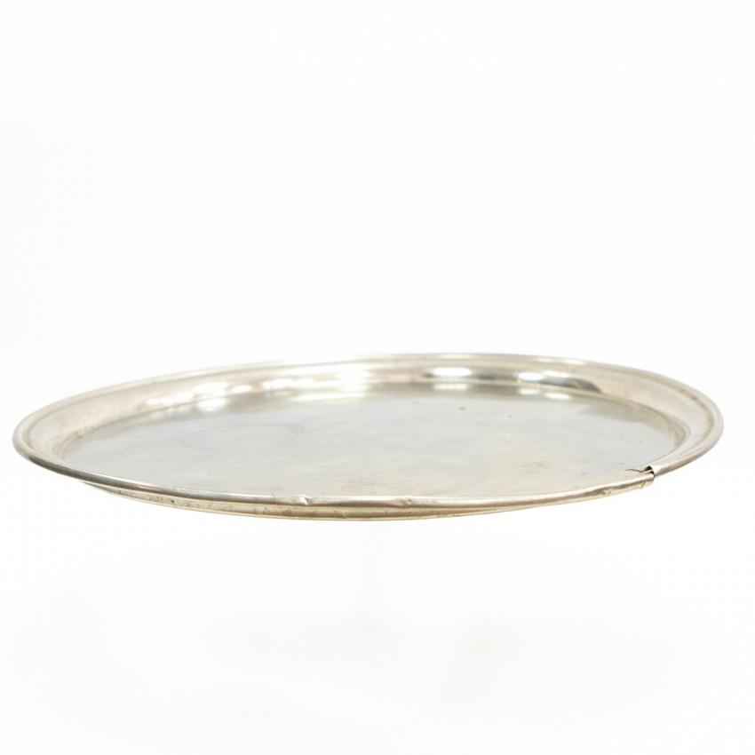 Plateau de bistrot rond en fer argenté - 45 cm
