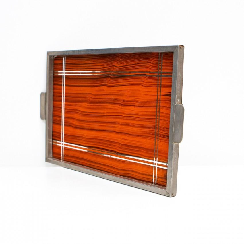 Plateau rectangulaire en bois et métal