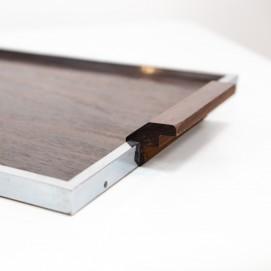 Plateau Art déco en bois et métal