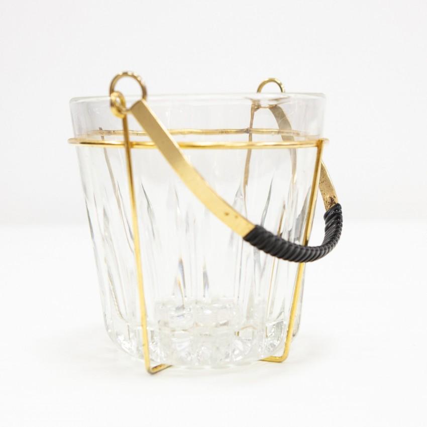 Seau à glace en verre, scoubidou et métal doré