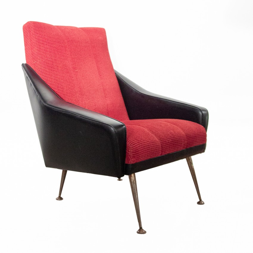 fauteuil en ska noir et velours rouge. Black Bedroom Furniture Sets. Home Design Ideas