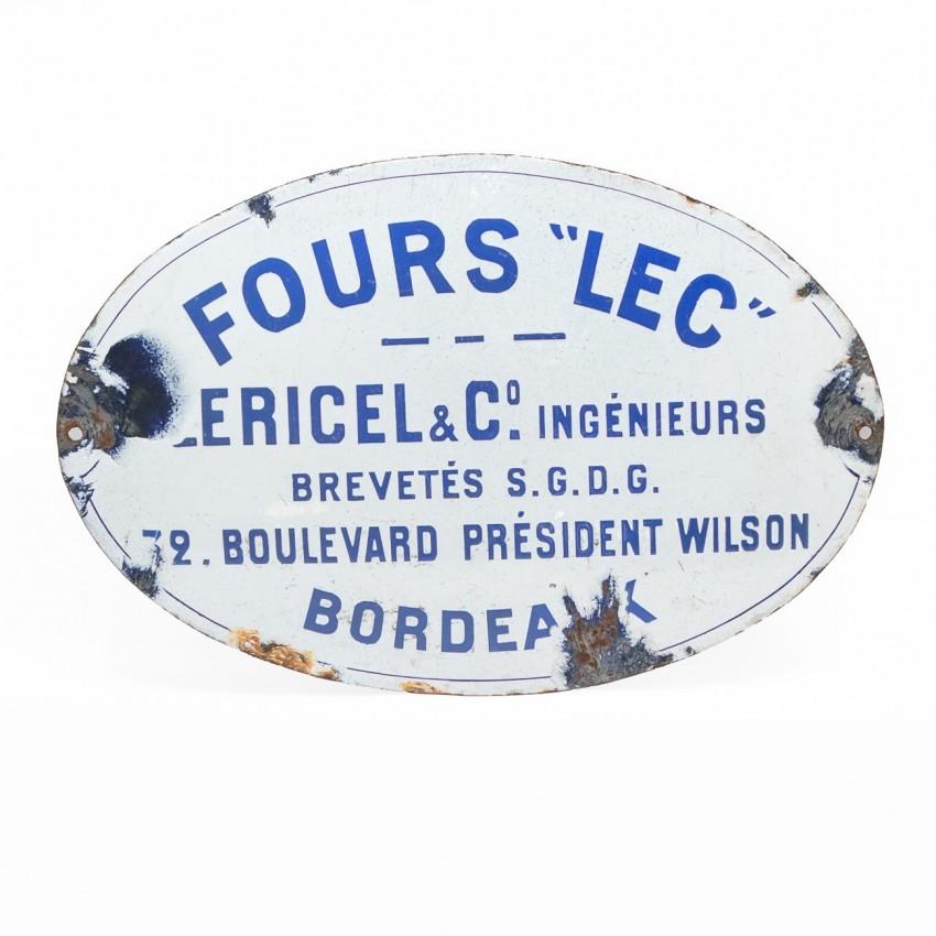Plaque émaillée Fours Lec - Bordeaux