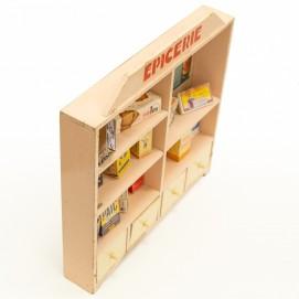 Meuble d'épicerie miniature en bois des années 1950