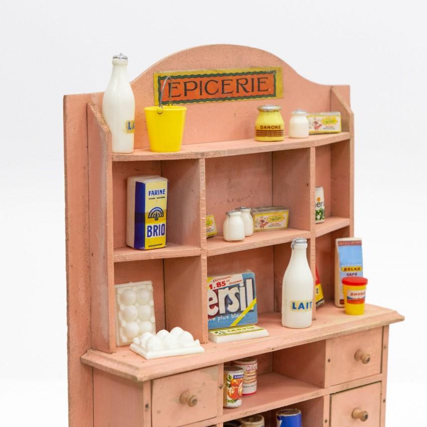 Vaisselier d'épicerie miniature en bois des années 1950