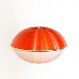 Suspension Erco au diffuseur en plastique rouge et blanc