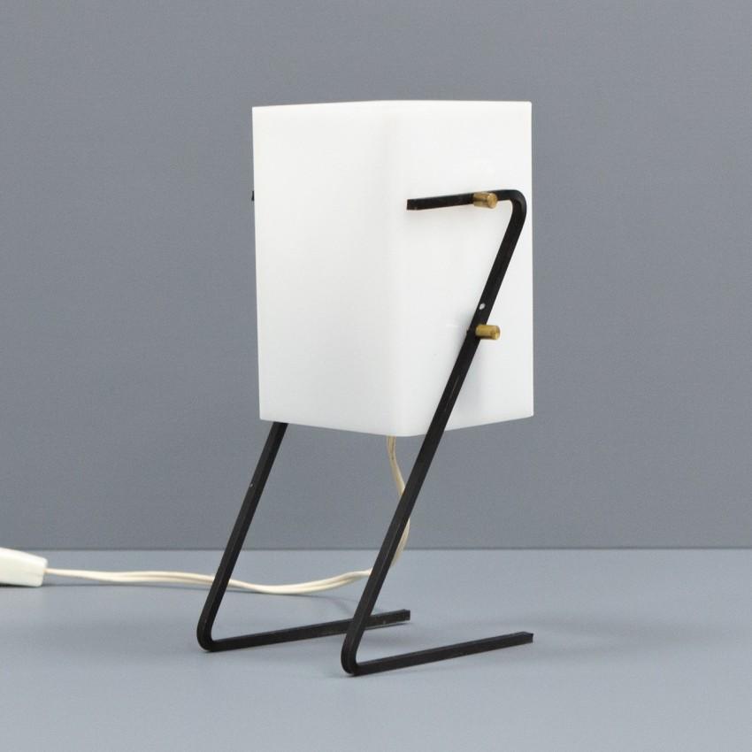 Lampe d'ambiance moderniste en Plexiglas, laiton et métal des années 1960