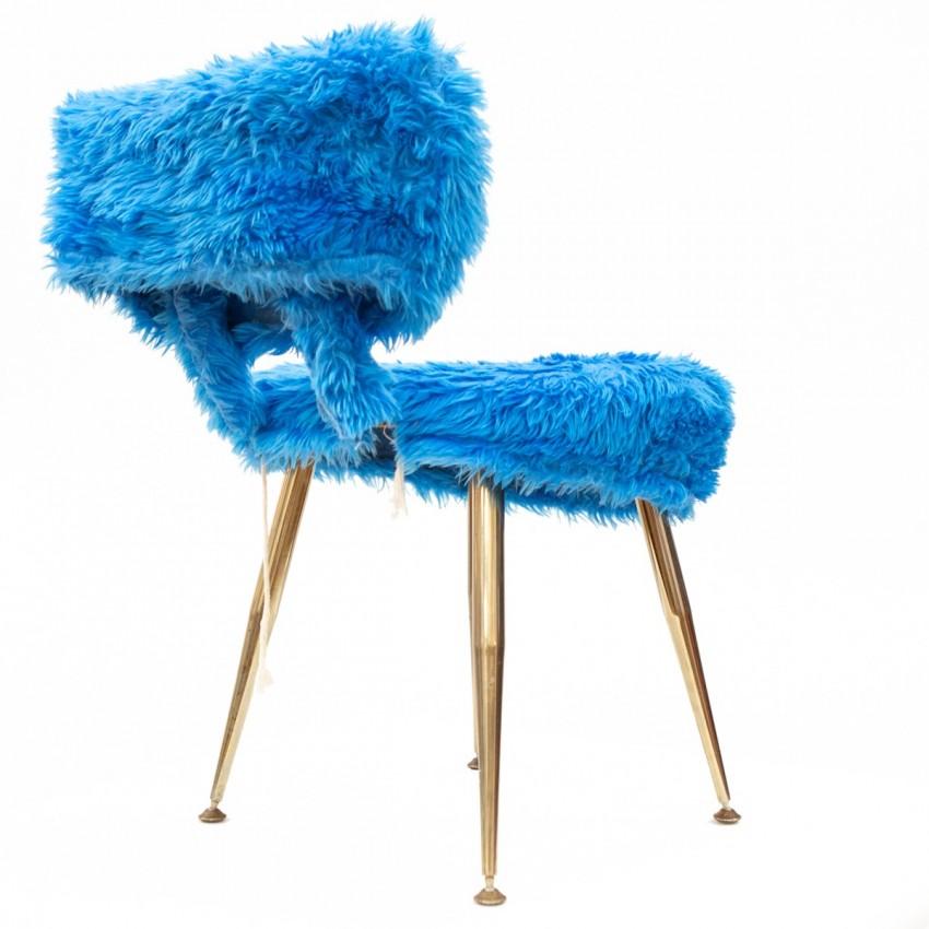 Chaise moumoute Pelfran bleue