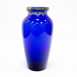 Vase des années 1930 en verre bleu