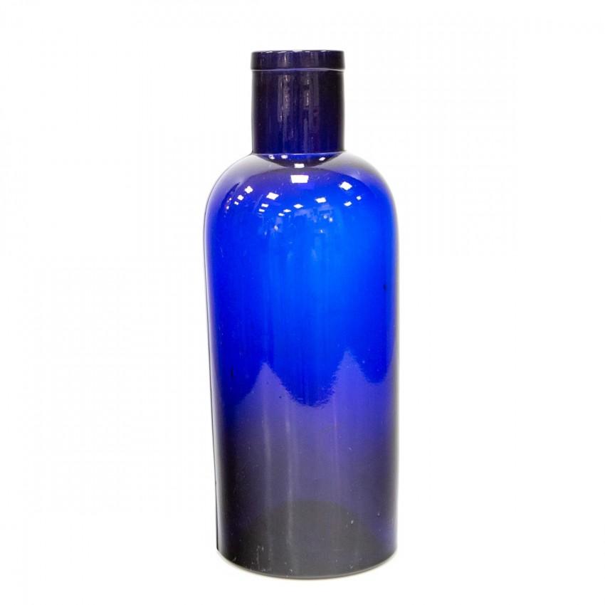 Ancien flacon d'apothicaire bleu