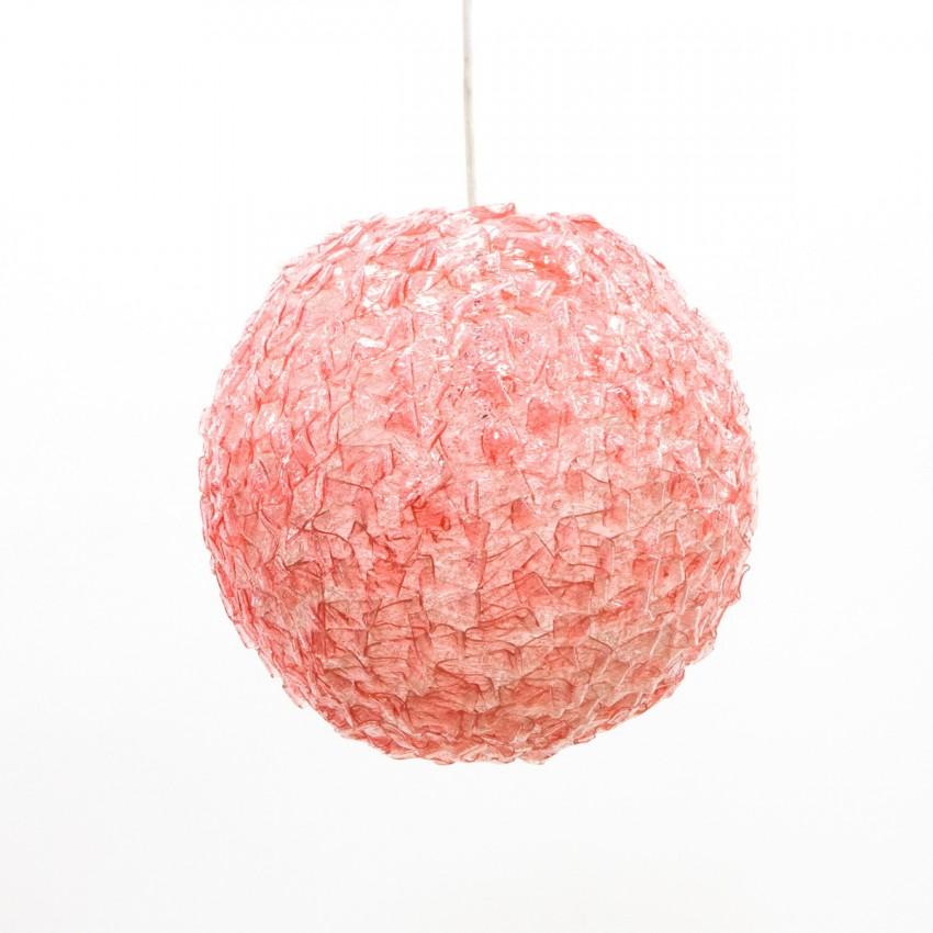 Suspension sphérique rose en plastique des années 1960