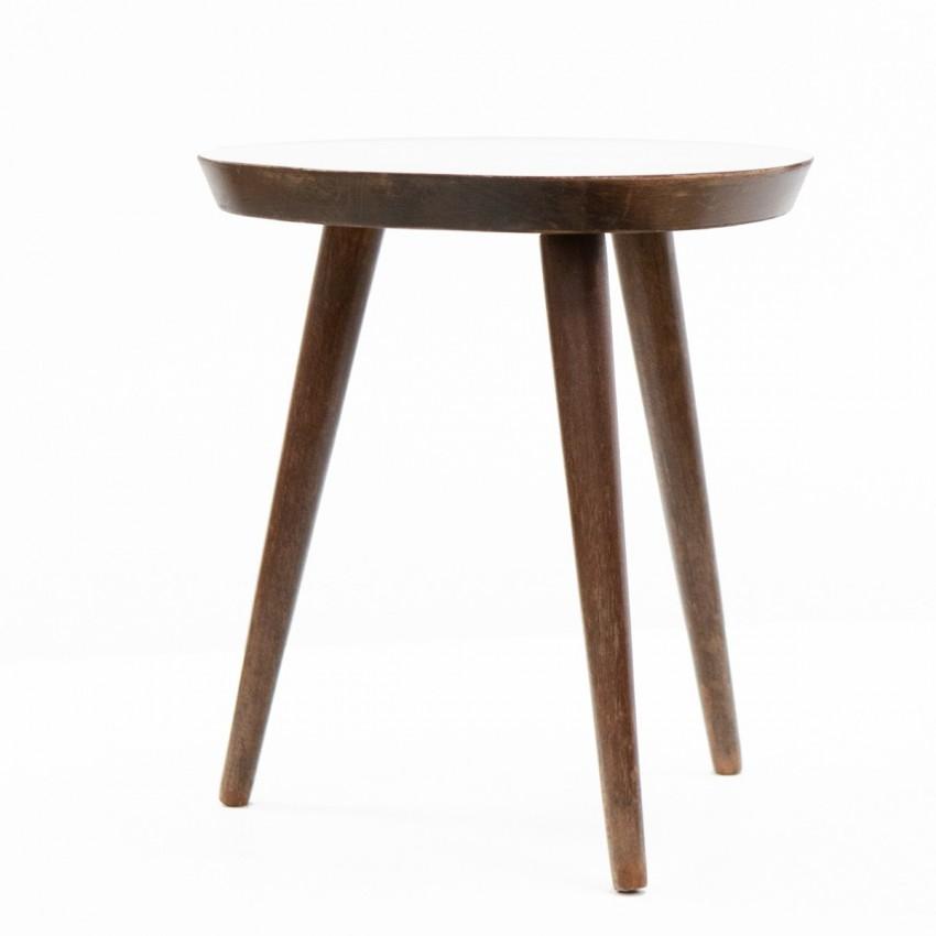 Petite table basse tripode en Formica des années 1950
